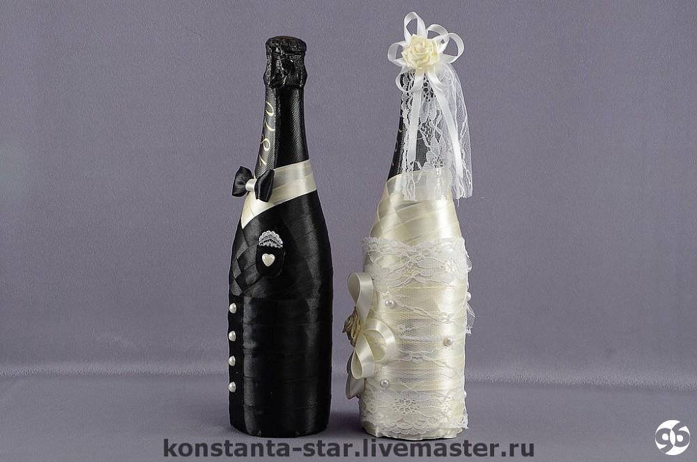 Свадебное шампанское на  мастер класс лентами